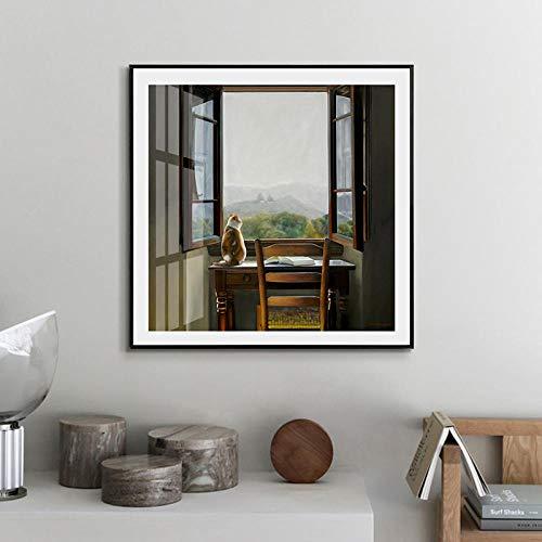 Canvas schilderij wandkunst poster Scandinavische stijl katten bekijken het landschap uit het raam modulaire afbeeldingen voor woonkamer Home Decor 50x50cmx1 niet ingelijst