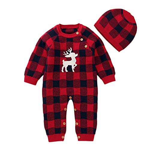 Baby Winter Warm Sweater Jumpsuit,Jchen Infant Boy Girl Cute Cartoon Deer Plaid Print Jumpsuit+Hat Outfits for 0-24 Month Red