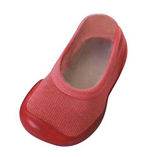 YWLINK Zapatos De NiñO ReciéN Nacido Bebé NiñA NiñO Calcetines De Color Liso Zapatillas con Suela De Goma Calzado De Casa CóModo Y Suave Zapatos De Primer Paso para NiñOs De Ocio(Vino,24 25EU)