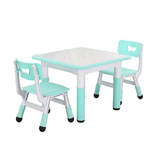 RBH Juego de Mesa de Estudio para niños Mesa de plástico para niños y 2 sillas, Kinder Puede Levantar Mesa y sillas Inicio Mesa de Estudio para niños y Silla 60 * 60 cm ⭐