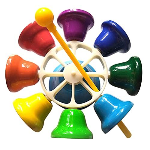 MILISTEN Campanas de Mano 8 Nota Diatónico Niño Instrumentos Musicales Giratorio Metal Campanas Musicales Música Juguete Educativo con Palo de Percusión para Niños