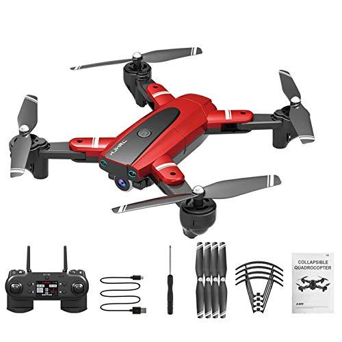 QiKun-Home HJ68 Plegado UAV Cámara de fotografía aérea de Alta definición Imagen de Video Trayectoria Vuelo Aerocraft con Bolsa de Almacenamiento Rojo 4k Tres baterías