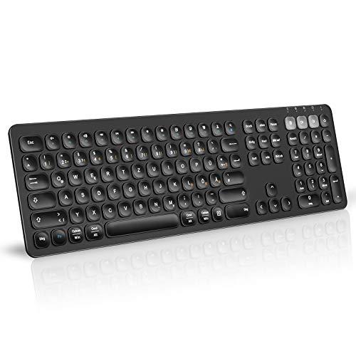 Jelly Comb Bluetooth Tastatur, 3-Kanäle Multi-Device Kabellose Tastatur mit Fullsize QWERTZ Deutschen Mac/Windows Layout, Wiederaufladbare Funktastatur für Windows/Android/IOS/MacOs/IPadOs, Schwarz