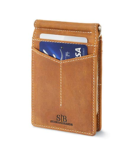Travel Wallet RFID Blocking Bifold Slim Genuine Leather Thin Minimalist Front Pocket Wallets for Men Money Clip - Made From Full Grain Leather (California Desert Rogue)