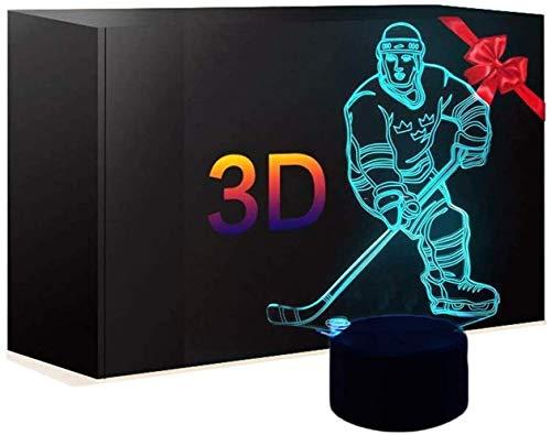 Eishockey Sportler Nacht Licht, 3D Optische Illusion LED Nachtlicht Nacht Lampe 7 Farben Touch Ändern 16 Farben Fernbedienung Spielzeug Geburtstag Geschenke hause Dekoration für Kinder Kinder