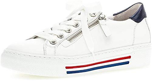 Gabor Damen Sneaker, Frauen Low-Top Sneaker,Comfort-Mehrweite,Reißverschluss,Übergrößen,Optifit- Wechselfußbett,weis/paz(w/bl/rot),42 EU / 8 UK