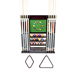 Cue Rack Only - 8 Pool - Billiard Stick & Ball Wall Rack W Clock Chose Mahogany or Dark Oak Finish (Mahogany)