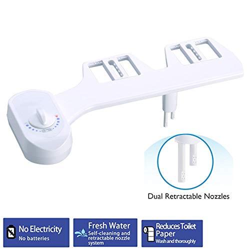 Niet-elektrisch bidet, bidet voor toiletbril met dubbele intrekbare sproeiers, zelfreinigende sproeier, koudsproeier