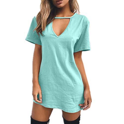 Frauen T-Shirt Kleid Choker V-Ausschnitt Sommerkleider Kurzarm Casual Sexy Halter Loose Boho Beach Dress