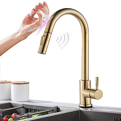 Saeuwtowy Grifo de cocina dorado cepillado con sensor táctil Grifo giratorio de 360 ° con extraíble Grifo de fregadero mezclador de acero inoxidable de 2 modos
