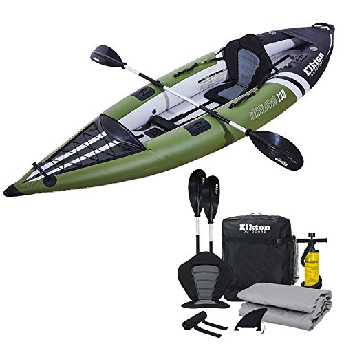 Elkton Outdoors Steelhead Fishing Kayak, Inflatable Touring, Single Person Angler, Includes Paddle, Hard Mounting Points, Bungee Storage