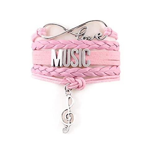 Infinity Love Letters Id Music Mujeres Pulsera Pilas Note Charm Pulseras Y Brazaletes De Cuero Para Mujeres Hombres Joyería