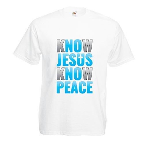 lepni.me Camisetas Hombre ¡Conoce a Jesús, Conoce la Paz! ¡Jesús los Salva a Todos! Pascua de Resurrección (Large Blanco Multicolor)