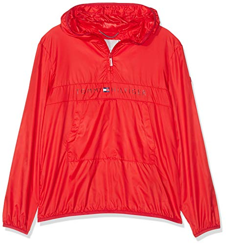 Tommy Hilfiger Jungen Unisex POP-Over Jacket Jacke, Rot (Flame Scarlet 633), 140 (Herstellergröße: 10)