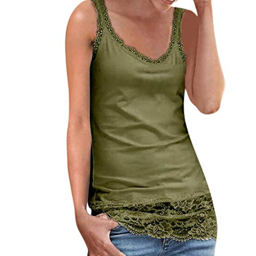 OSYARD Spitze Strand Tanks Damen Ärmelloses Sommer Tops T-Shirt Oberteile Bluse Frauen Trägershirt Weste Vest Camisole