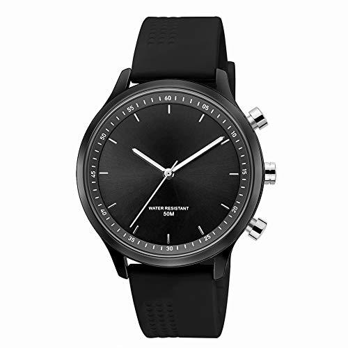 Unisex horloge, analoog quartz horloge, smartwatch Nieuwe mode metalen wijzerplaat Mechanische handen Sos één knop voor hulp bij sporten,Black