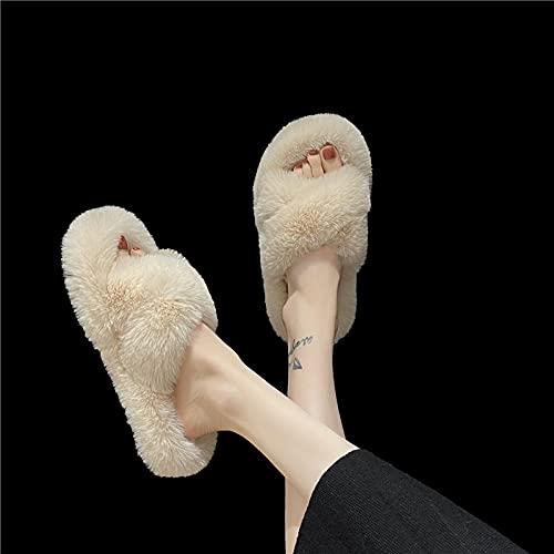 Kirin-1 Zapatillas de casa Hombre Invierno,Otoño e Invierno Nueva Piel de Gran tamaño arrastrada Fuera de Las Zapatillas de algodón de Las Mujeres-Arroz Blanco_35