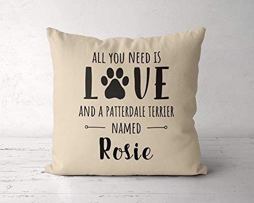 Sp567encer Alles wat je nodig hebt, is liefde en een patroon terrier genaamd Patterdale Terrier kussensloop Patroon Terrier eigenaar Liefhebbers Patroon Terrier