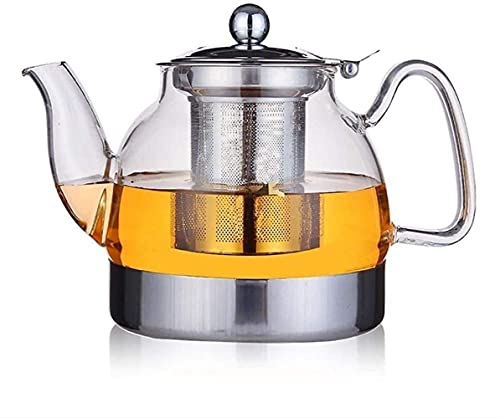 FHISD Tetera 800ml Tetera de Vidrio Resistente al Calor Tetera con Filtro de Acero Inoxidable Tetera de Flores Estufa de Gas Cocina de inducción Tetera 1yess Taza de té