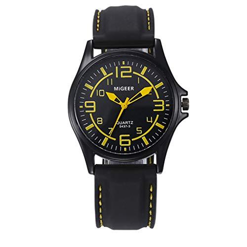 Herren Uhren Chronograph Analog Quarzuhr Männer Wasserdicht Sport Armbanduhr 2077Gelb