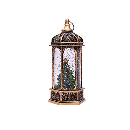 Vintage Decorative Christmas Candle Lanterns, LED Indoor Outdoor Hanging Lanterns Telephone Booth Shaped Wind Lamp for Centerpiece Dining Table Xmas Holiday Festival Decorations (F)