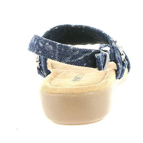 Minnetonka Femmes Sandales Compensées Couleur Bleu Acid-Denim Taille 42 EU / 11
