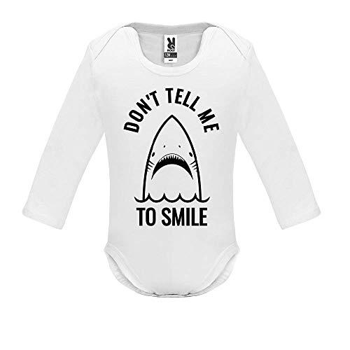 Body bébé - Manche Longue - Don t Tell me to Smile - Bébé Garçon - Blanc - 3MOIS