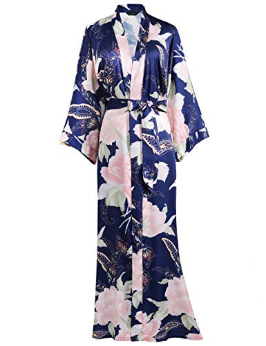 BABEYOND Damen Morgenmantel Päonie Blumen Muster Gedruckt Strickjacke Maxi Lang Satin Sommer Kimono Strandkleid Kimono Bademantel Damen Lange Robe Blumen Schlafmantel Pajama Party (Navy Blau)