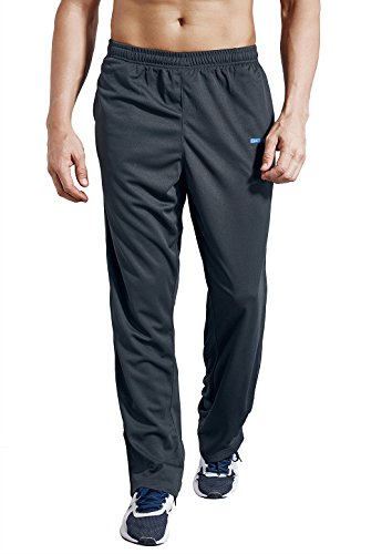 ZENGVEE Men's Sweatpant with Pockets Open Bottom Athletic Pants for Jogging, Workout, Gym, Running, Training(Solid Gray,M)