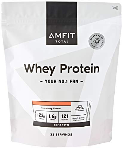 Marchio Amazon - Amfit Nutrition Proteine del Siero di Latte in Polvere 1kg - Fragola (precedentemente marchio PBN)