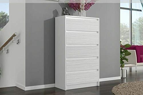 Megaastore Moderne Kommode Sideboard 5 Schubladen Wäscheschrank Weißer Glanz Schwarzer Glanz Schwarze Saiten Weiße Saiten Eben Zebra Wenge | 121(H) x 70(B) x 40(T) cm (Weiss/Saiten/Hochglanz)