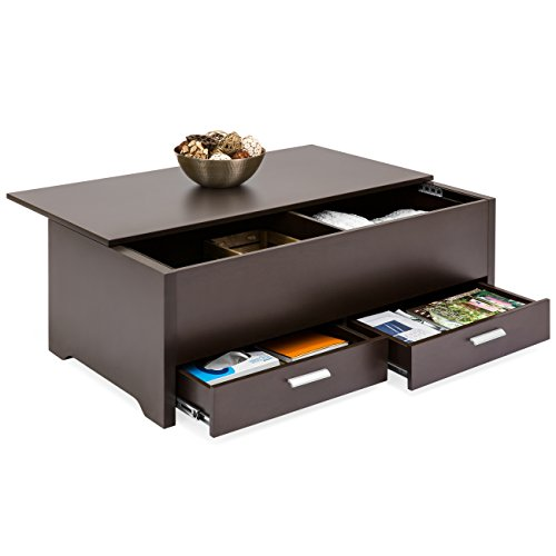 Best Choice Products Modern Multifunctional Coffee Table Furniture for Living Room, w/ 3 Storage Compartment Shelves, Espresso