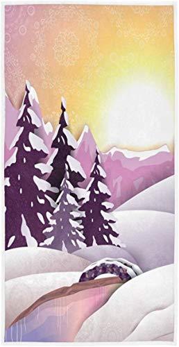 Toallas de Mano de Pueblo de Invierno nevado Rock SkullWinter Toalla de baño Ultra Suave Absorbente Toalla de baño Fina Decoración de baño de Navidad Regalos70×140cm