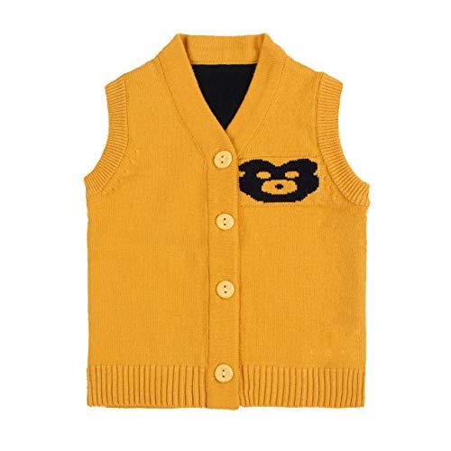 Cotton Bear Knit Baby Sweater Vest Sleeveless V-Neck Infant Boys Sweater Casual Newborn Girls Sweater Spring Autumn (Yellow, 6 Months)