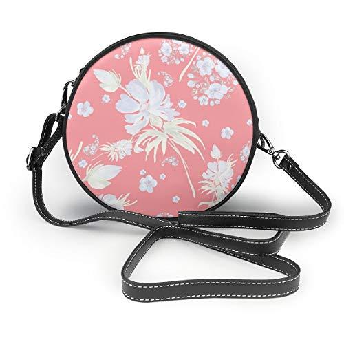 Wrution Damen Handtasche mit Wasserfarbe, nahtloses Muster, Blumen-Arrangement, rund, Reißverschluss, weiches Leder