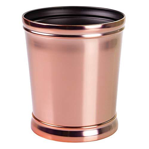 mDesign Mülleimer – optimal als Papierkorb oder Abfalleimer – für Küche, Bad und Büro – modernes Design und hochwertige Materialien – roségold