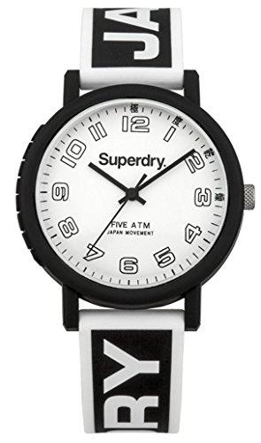 Superdry Campus Herren Uhr analog Japanisches Quarzwerk mit Silikon Armband SYG196BW