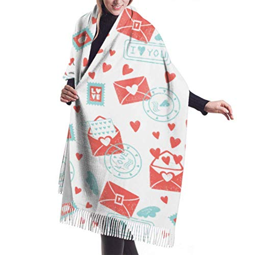 shenguang Womens Winter Scarf Cashmere Feel Valentines Day Pattern Envelope Hearts Scarves Stylish Shawl Wraps Soft Warm Blanket Scarves for Women