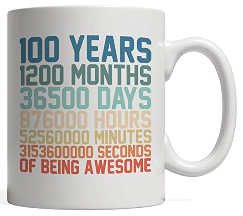 100 Years Old Anniversary Math Mug - 100th Birthday Vintage Retro Gift idea for Boy or Men and Girl or Women who was born in 1920! Prepare for fun party celebration for one hundred year old kid in one