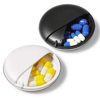 Pillendose klein, Opret Tragbare Reise-Pillendose zur Aufbewahrung kleiner Gegenstände (Schwarz)