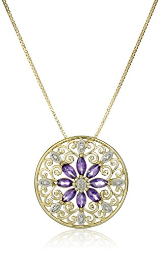 18k Yellow Gold Plated Sterling Silver Genuine Amethyst and Diamond Accent Filigree Mandala Pendant Necklace, 18""