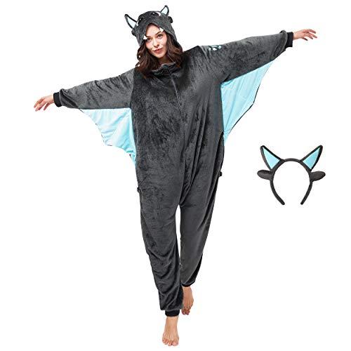 corimori (Spark der Drache Damen & Herren Onesie Jumpsuit Kostüm Gr. 160 - 170cm, Grau