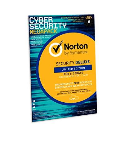 Preisvergleich Produktbild Norton Security Deluxe 2019 / limitierte CyberSecurity Edition / Schutz für 5 Geräte inkl. Secure VPN / PC / MAC / Android Download,  Aktivierungscode in Frustfreier Verpackung