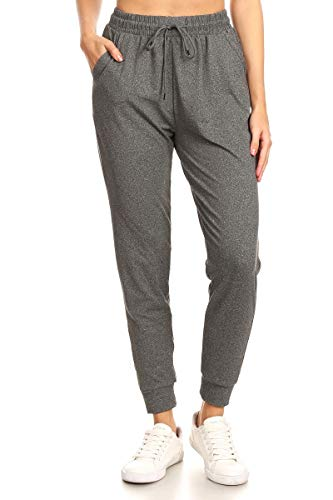 JGA2-HCHARCOAL-M Heather Charcoal Solid Jogger Track Pants w/Pockets, Medium | Leggings Depot