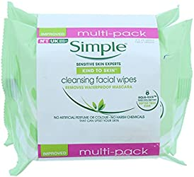 SIMPLE Kind To Skin Cleansing Facial Wipes Flow Twin Pack, 50 count