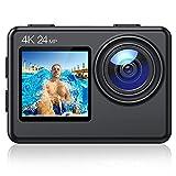 Action Cam A86, 4K 24MP Ultra HD EIS WiFi Impermeabile 40M Videocamera, Schermo LCD Anteriore e...
