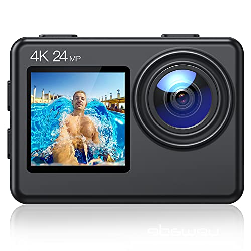 Action Cam A86, 4K 24MP Ultra HD EIS WiFi Impermeabile 40M Videocamera, Schermo LCD Anteriore e Touch Screen Posteriore Fotocamera Subacquea, Telecoma