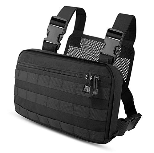 Kyrio Tactical Chest Rig Molle Radio Soporte para arnés de Pecho Chaleco de Funda para Radio bidireccional Walkie Talkies Negro
