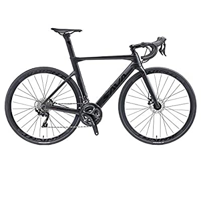 SAVADECK Carbon Road Bike, T800 Carbon Fiber Frame 700C Racing Bicycle with 105 R7020 22 Speed Groupset Carbon Wheelset and Hydraulic Disc Brake (Black, 56CM)