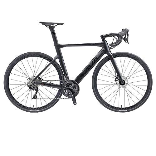 SAVADECK Bicicleta de Carretera de Carbono T800 Cuadro de Fibra de Carbono Bicicleta de Carrera 700C con Grupo de 105 velocidades R7000 de 22 velocidades y Freno de Disco mecánico (Negro, 54cm)